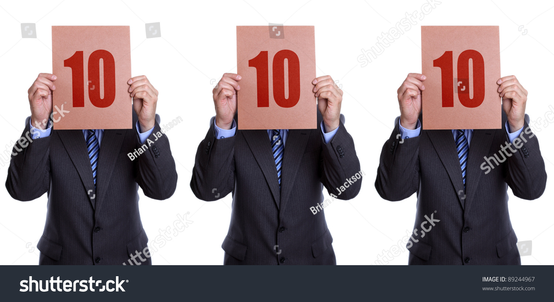 perfect score panel 3 businessman judges stock photo 89244967