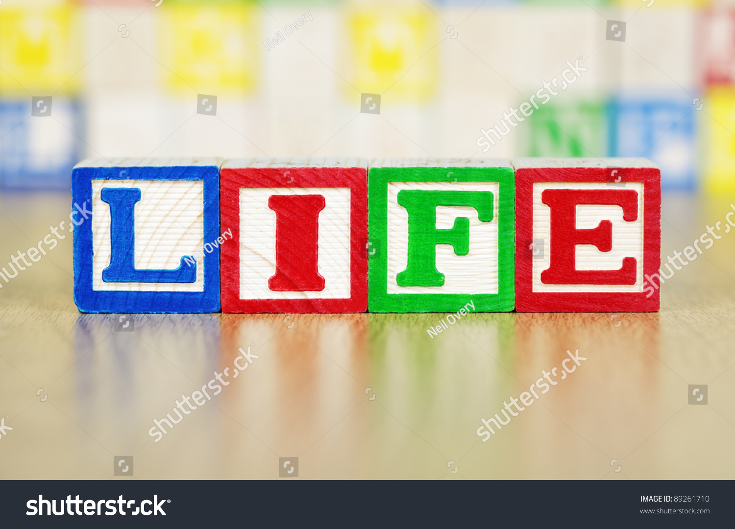Life Spelled In Cobble : Life spelled out in alphabet building blocks stock photo