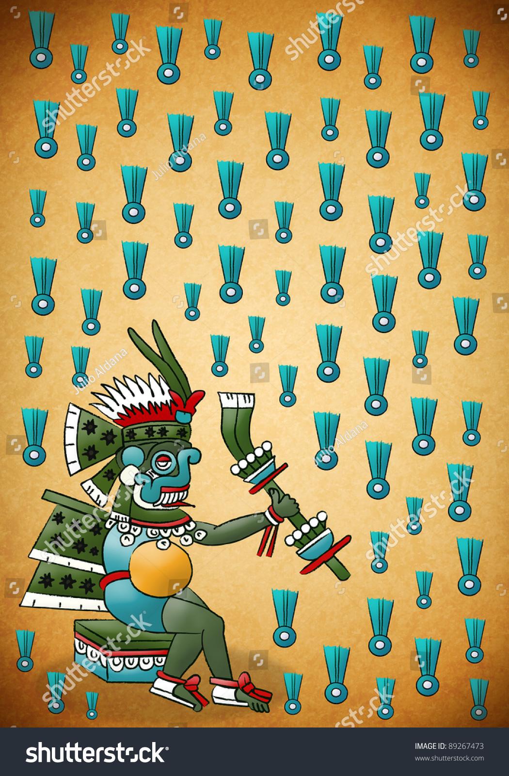 Tlaloc Mayan Aztec Deity Water Rain Stock Illustration ...