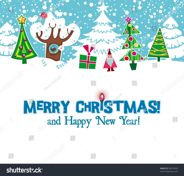 Cartoon christmas card xmas fir trees stock vector