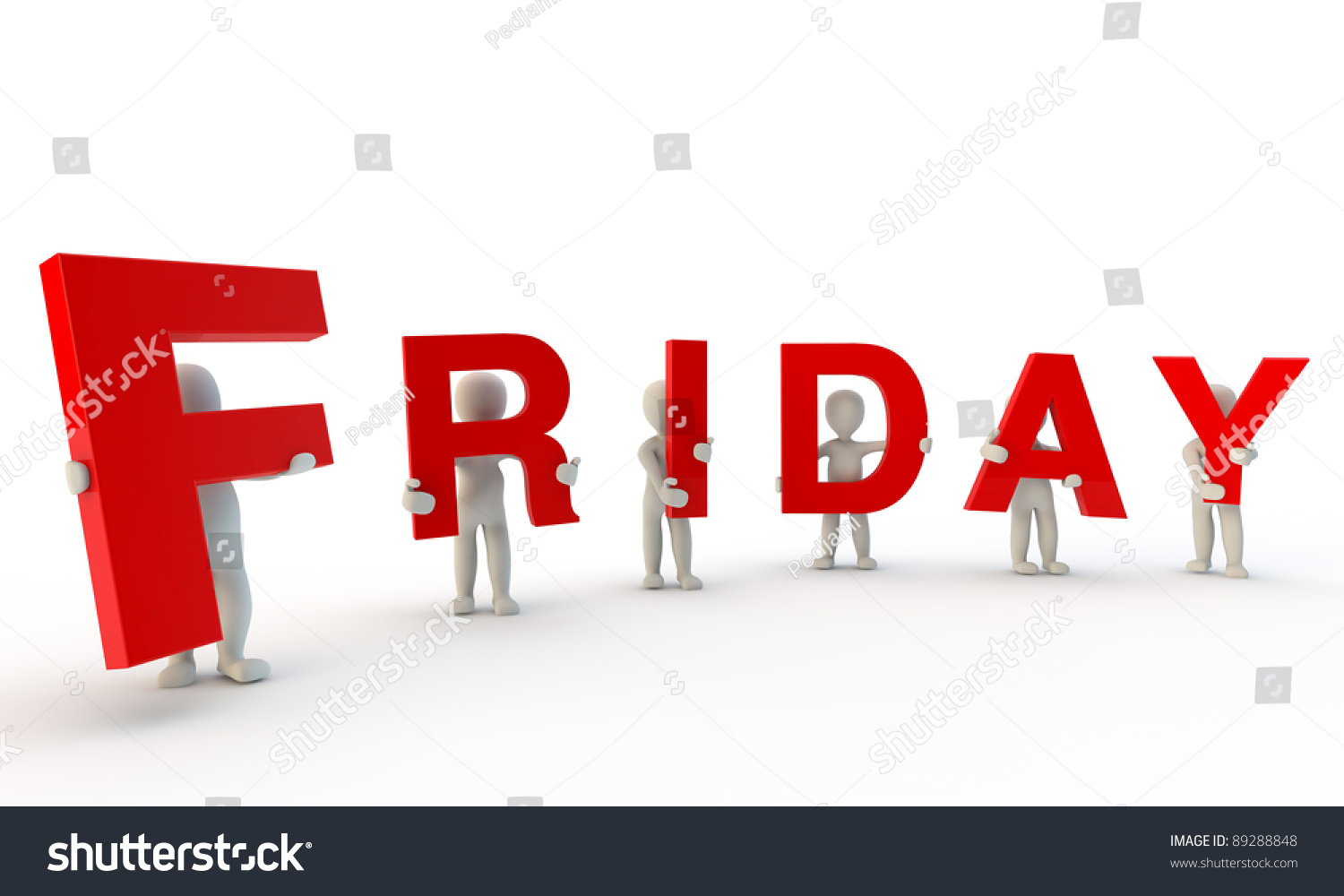 3d Humans Forming Red Word Friday Stock Illustration 89288848 ...
