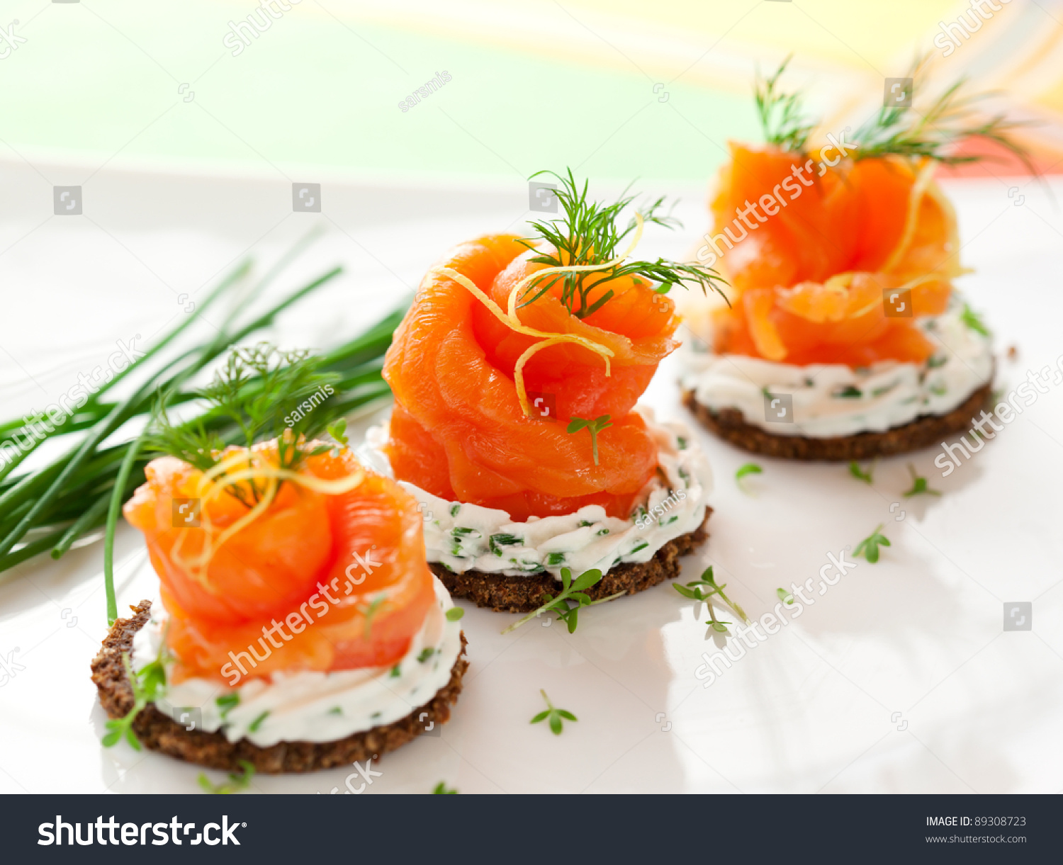 Canapes with smoked salmon and cream cheese stock photo for Cream cheese canape