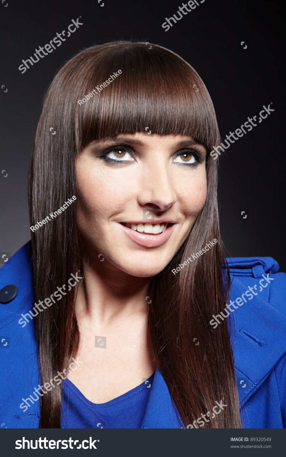 Smiling Woman Pageboy Haircut Looking Stock Photo Edit Now