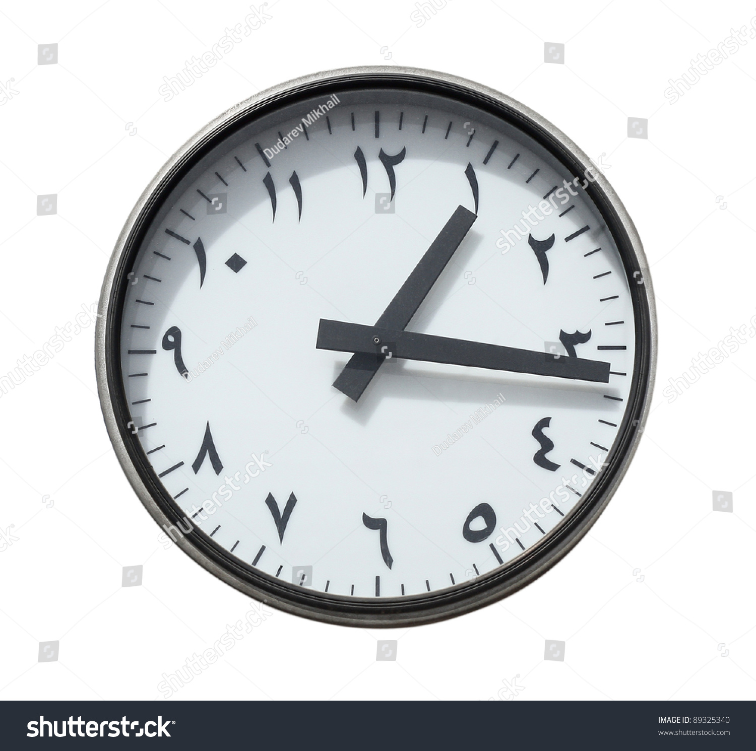 Round clock classical arabic font naskh stock photo 89325340 round clock with classical arabic font naskh isolated on a white amipublicfo Images