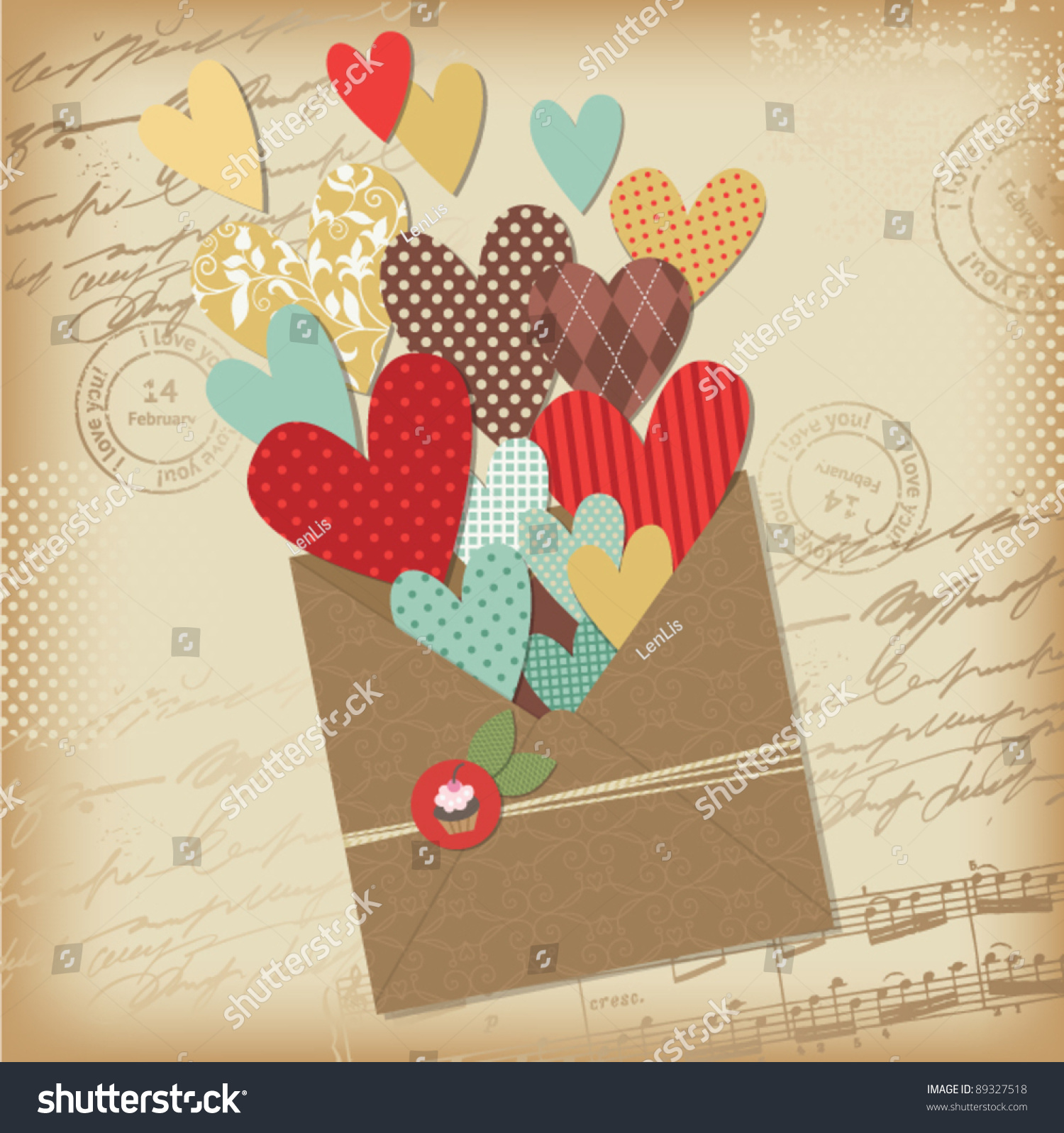 How to scrapbook greeting cards - Retro Scrapbooking Elements Valentine Card
