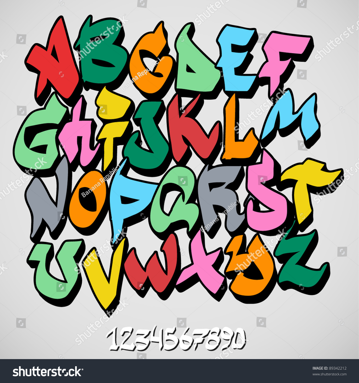 Graffiti Font Alphabet Stock Vector 89342212 - Shutterstock