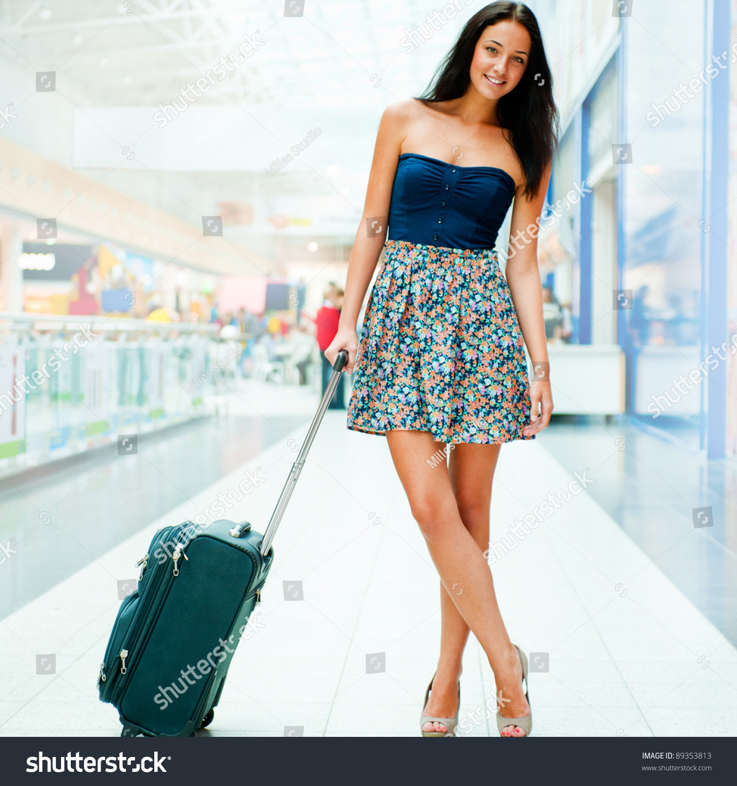 Young Woman Luggage International Airport She Stock Photo 89353813 ...