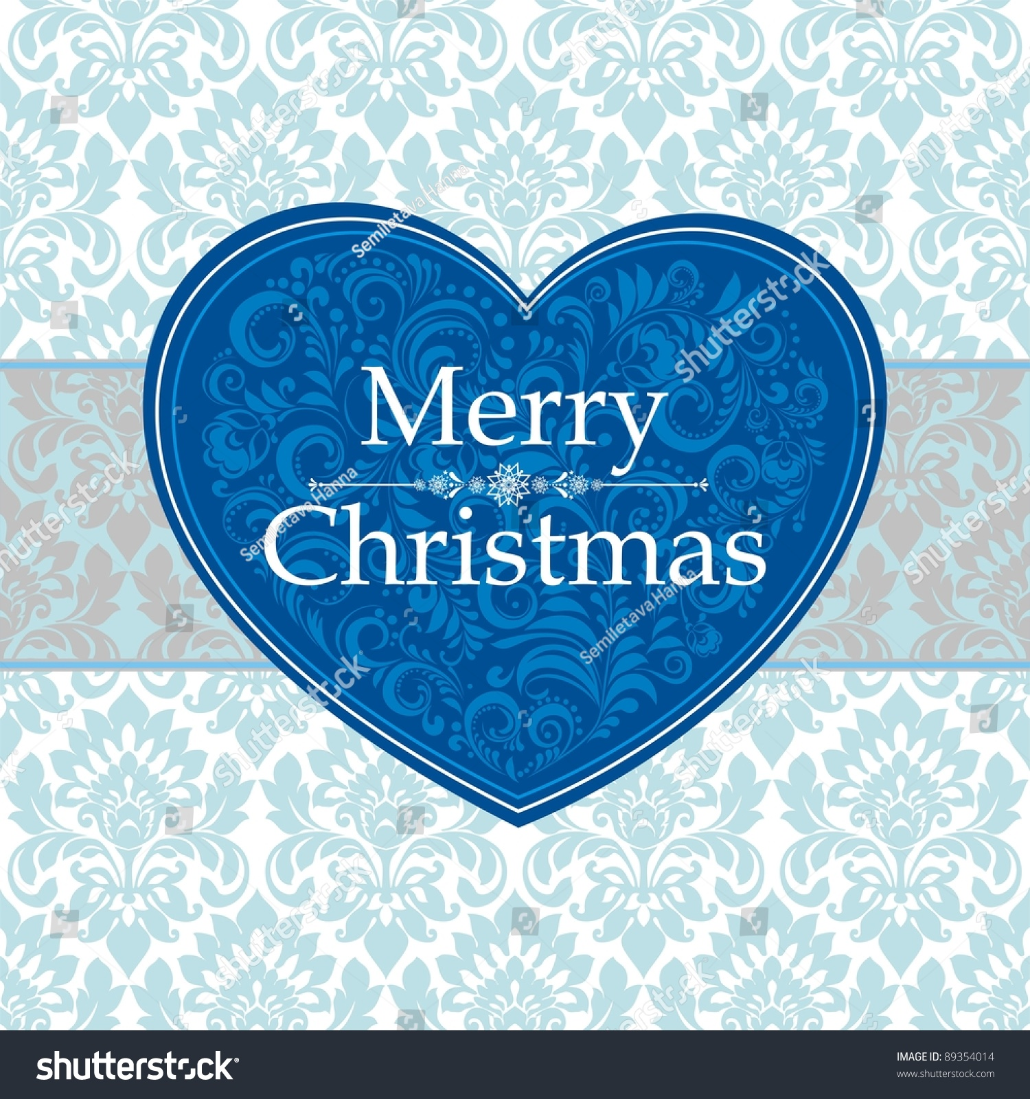 Vintage merry christmas card blue heart with flower