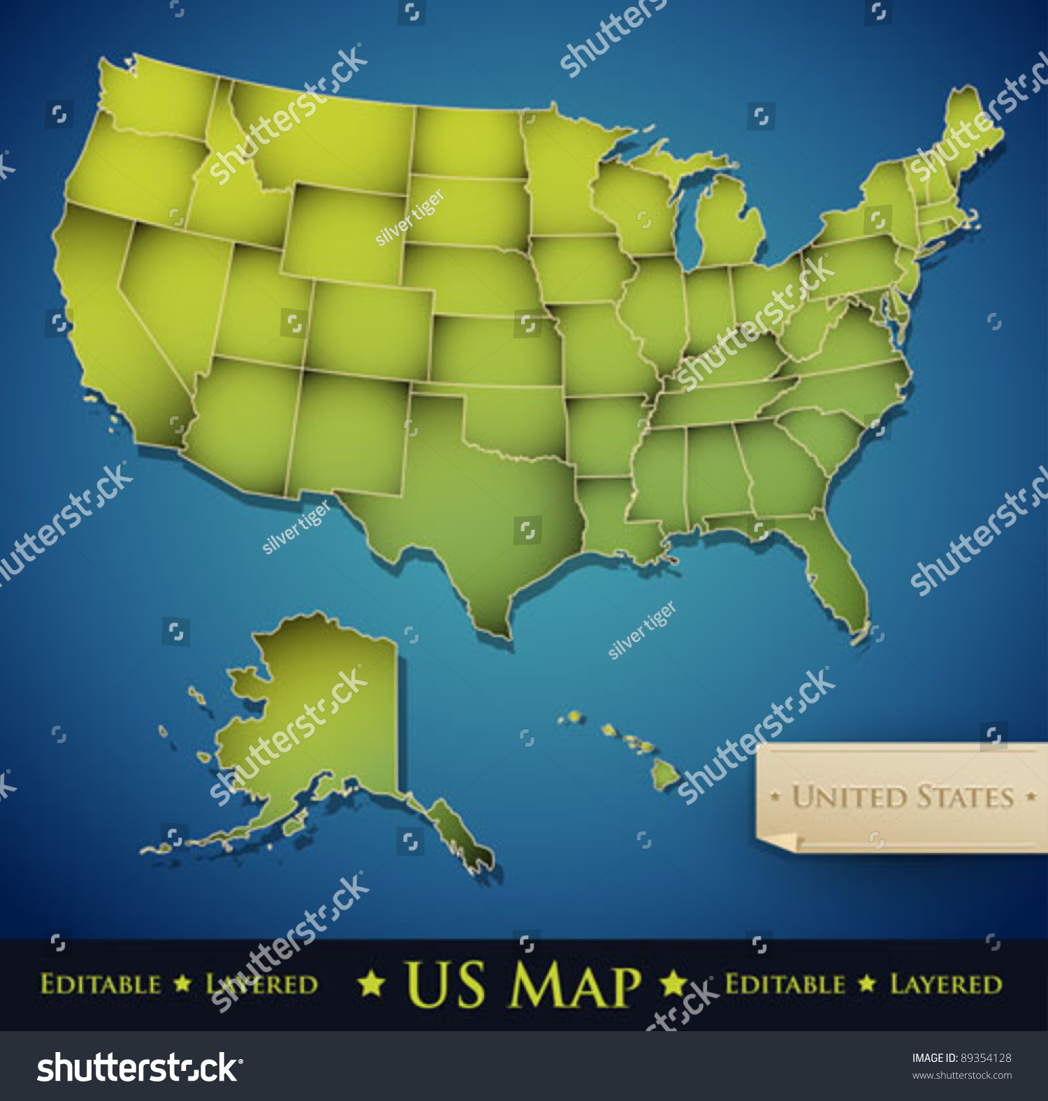 United States Map All States Stock Vector Shutterstock - Map of the 50 united states