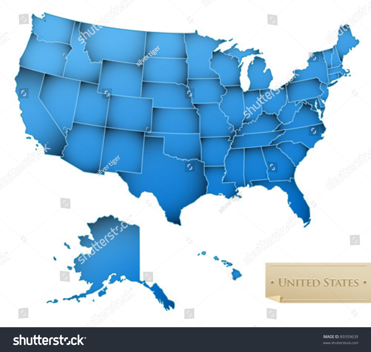 Usa Map United States America All Stock Vector Shutterstock - Map of all the states