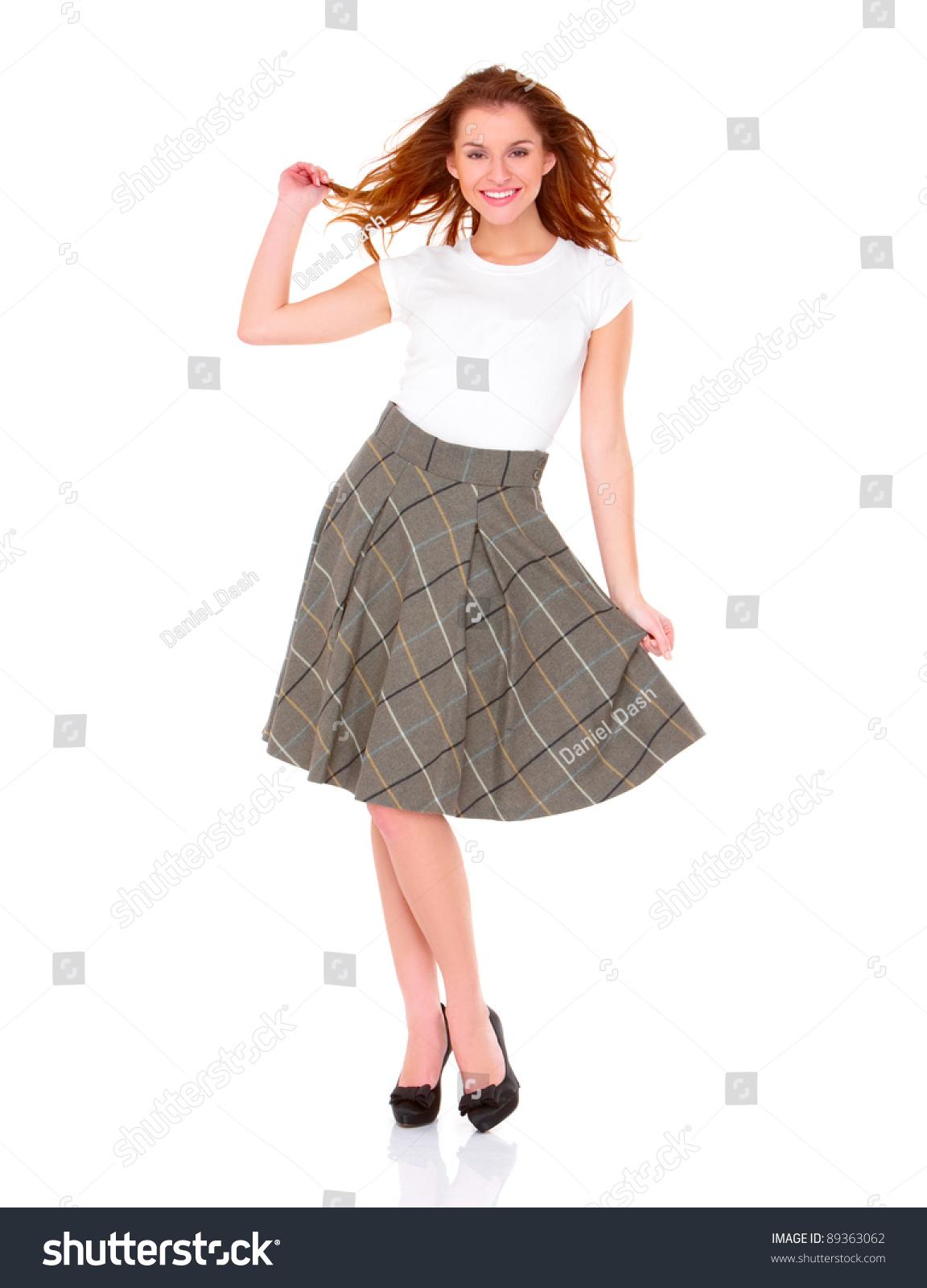 Beautiful Young Woman Wearing Skirt On Stock Photo 89363062 ...