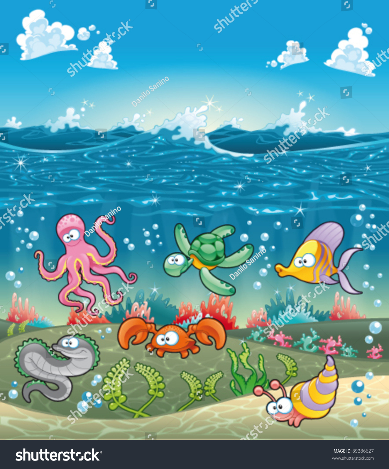 Family Marine Animals Under Sea Funny 89386627