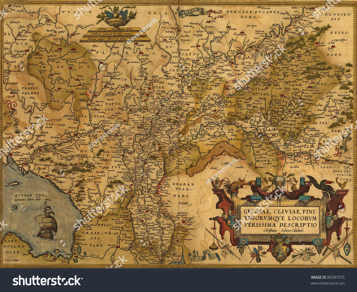 Antique Map Germany Netherlands By Abraham Stock Photo - Netherlands germany map