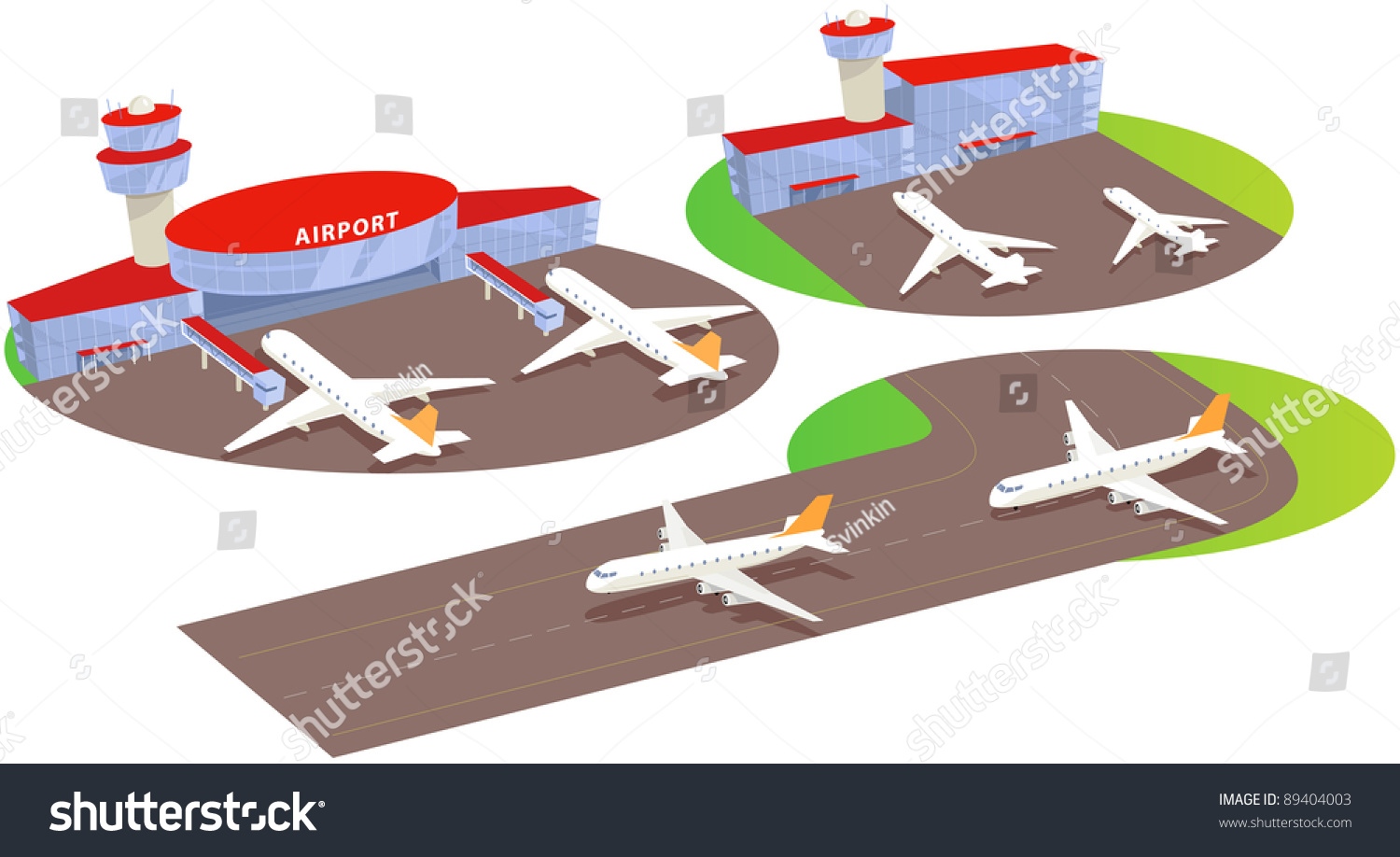 Airport Terminal And Liner. Fun Cartoon Map Elements ...