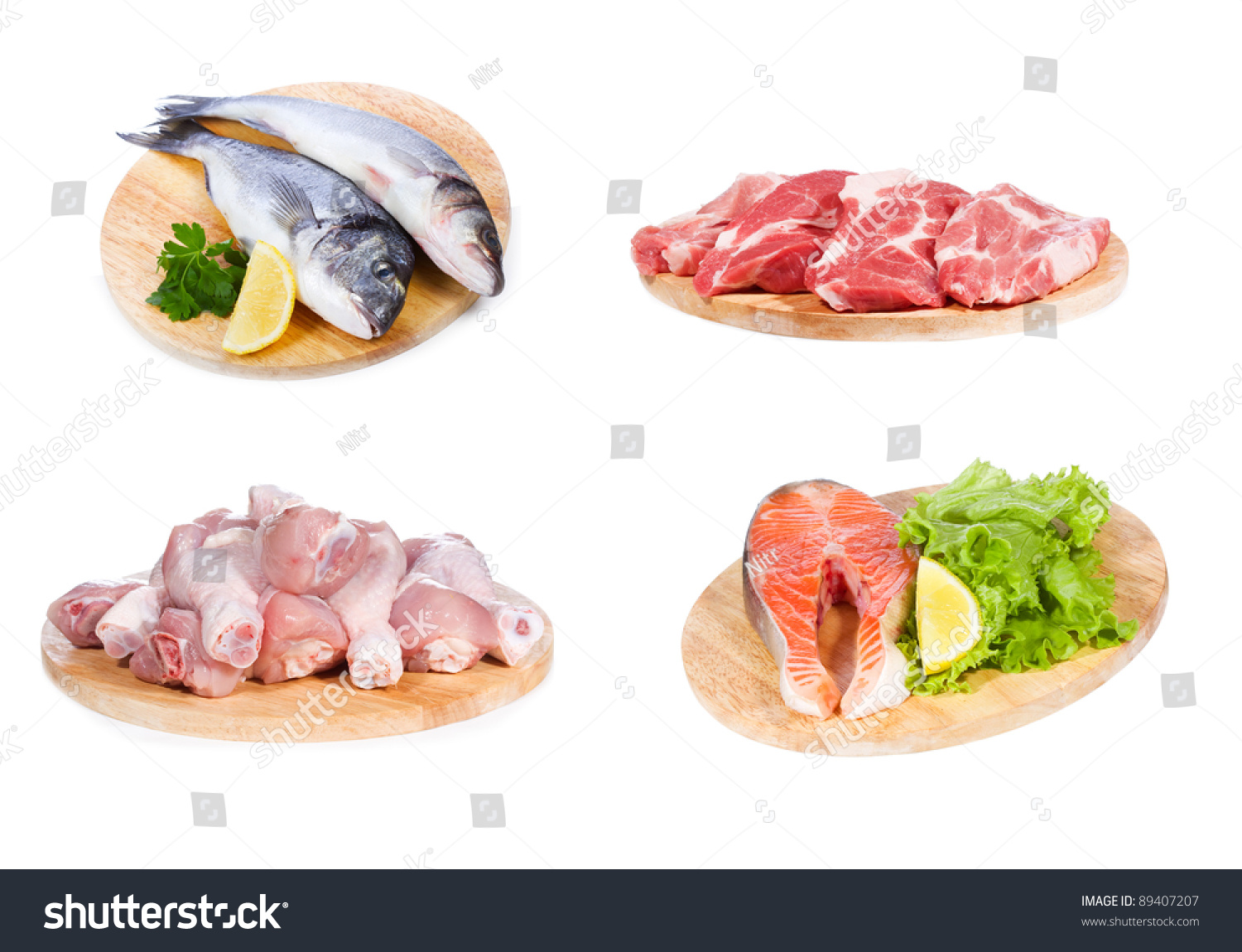 Set different raw fish chicken meat stock photo 89407207 for Is fish meat