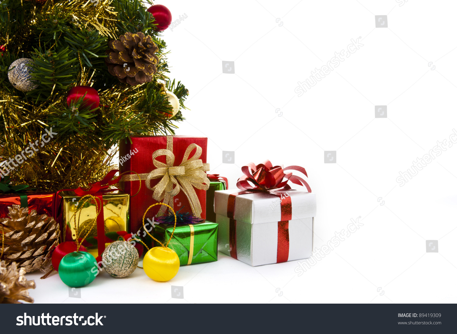 Colorful christmas decorations on white background stock for Colorful christmas decoration ideas