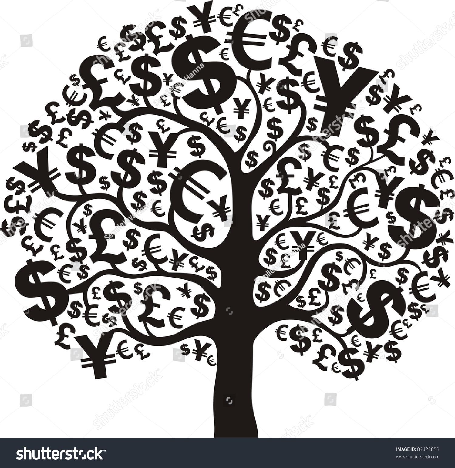 Money Tree Isolated On White Background Stock Illustration ...