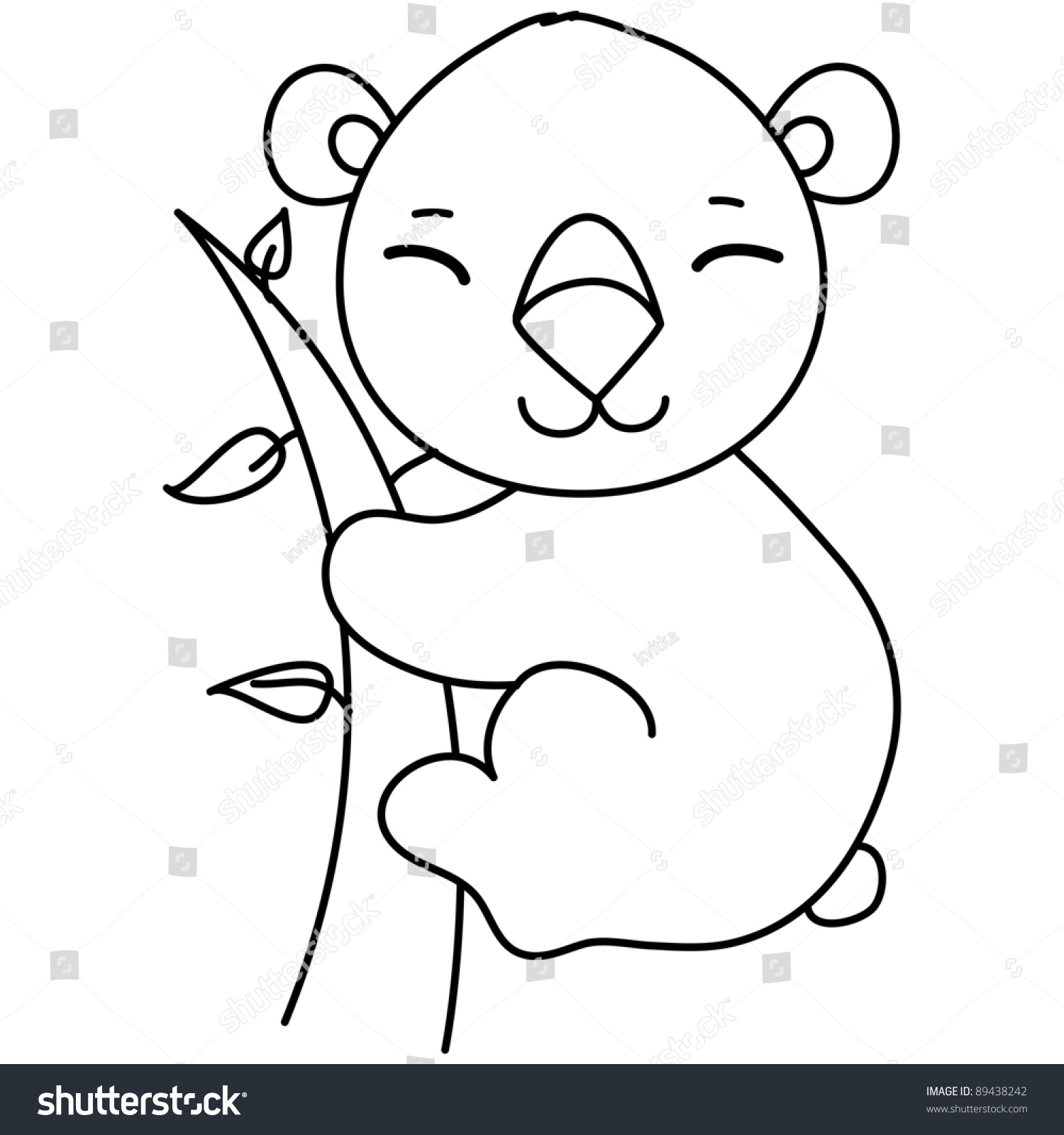 Line Drawing Koala : Little cute koala on tree cartoon stock vector