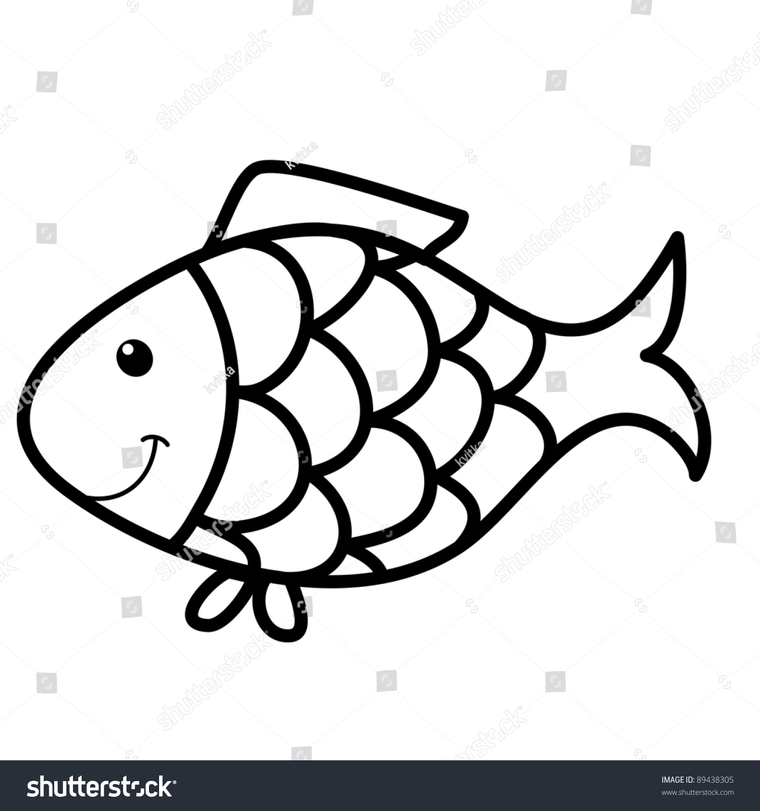 Line Drawing Of Fish : Cute fish cartoon line art coloring stock vector