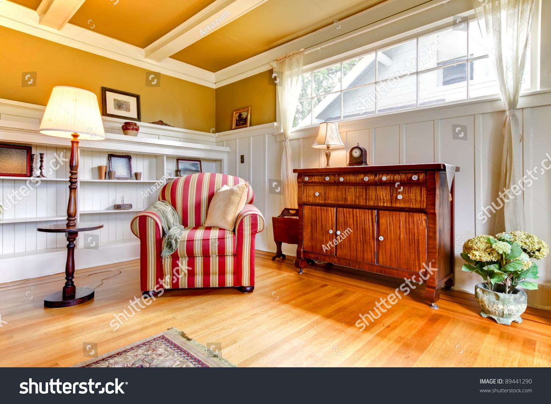 Golden Living Room : Beautiful Golden Living Room Red Chair Stock Photo ...