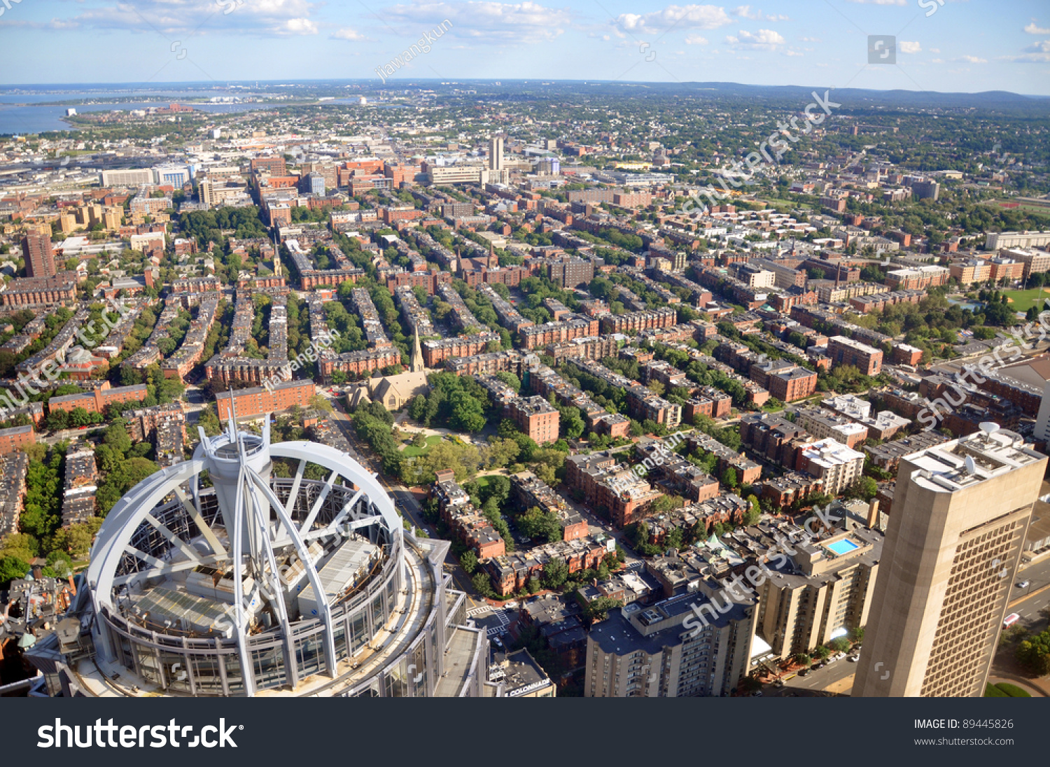 Back Bay Apartment Aerial View Boston Stock Photo - Prudential center boston apartments