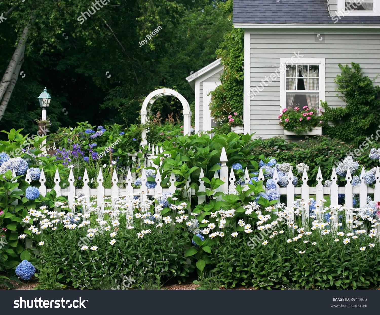 Beautiful Garden Setting Flowers White Picket Stock Photo 8944966