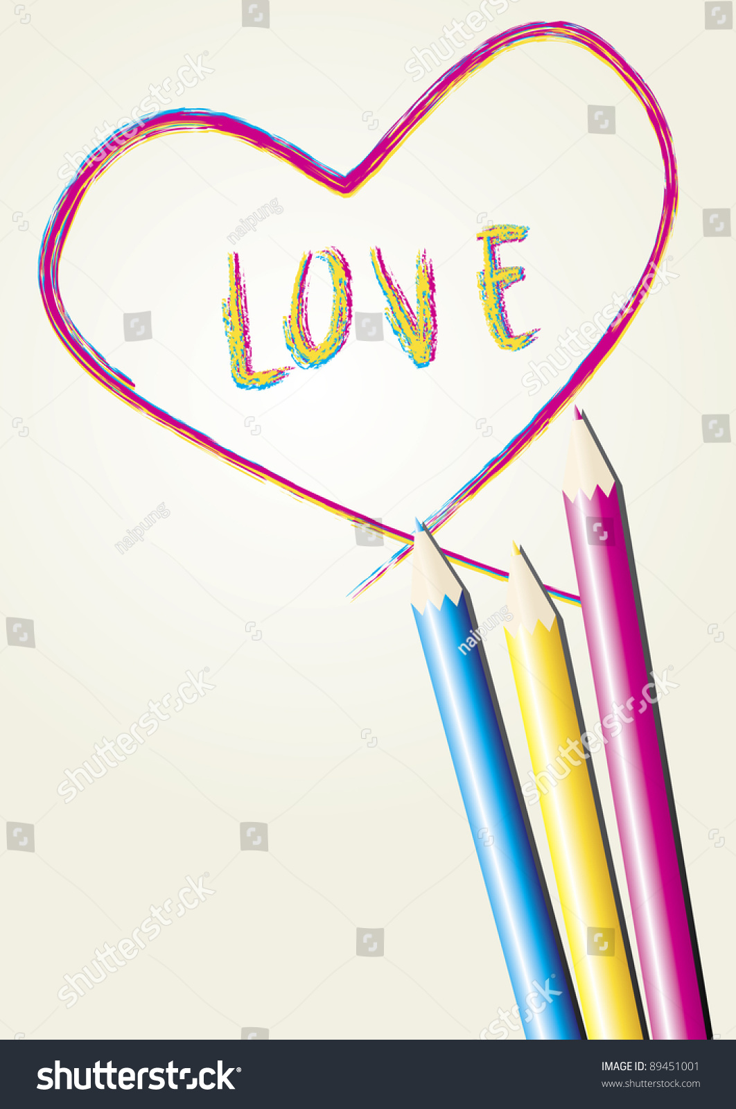 Love Letter Heart Draw By Three Stock Vector 89451001 ...