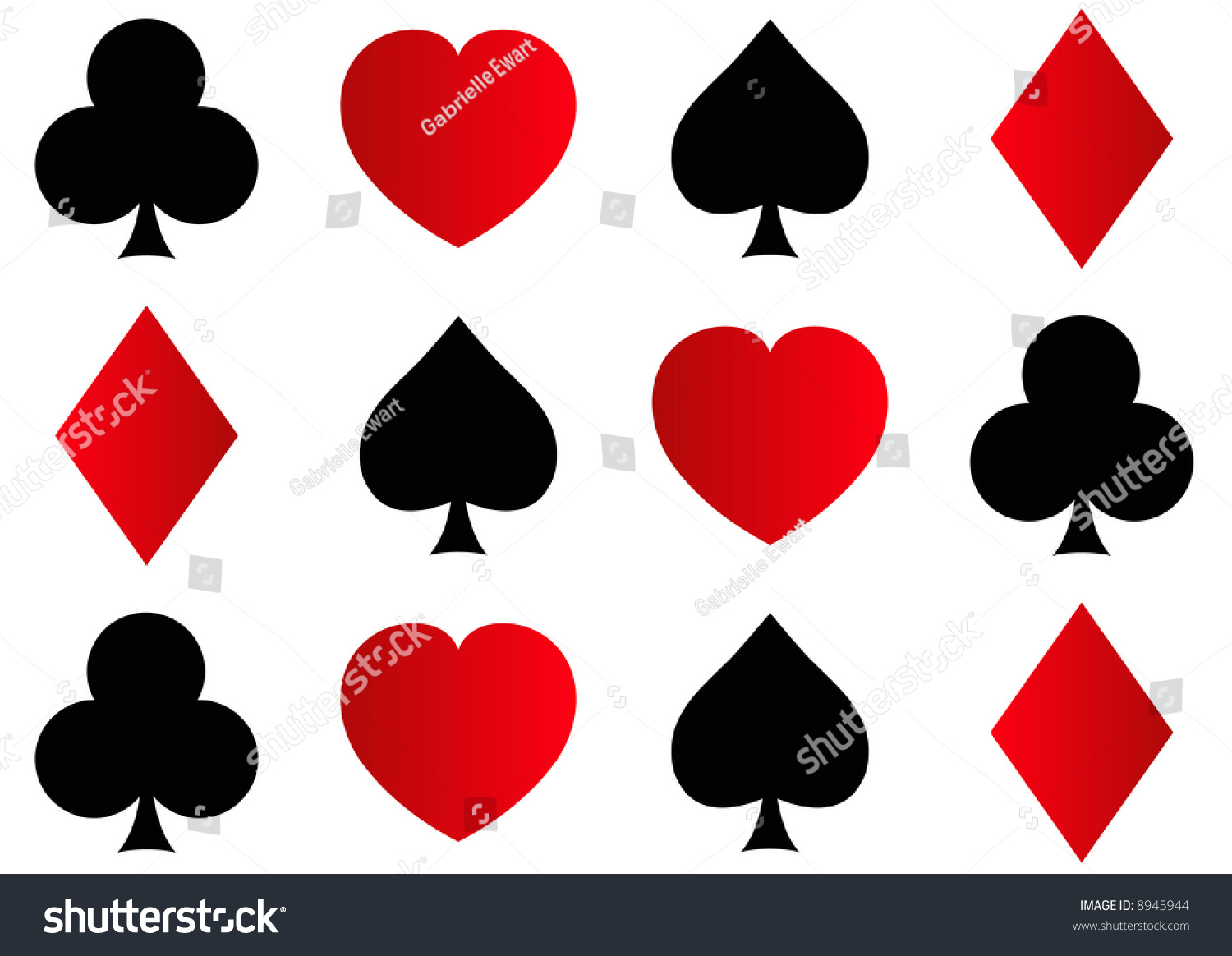 rows spades clubs hearts diamonds shapes stock illustration 8945944