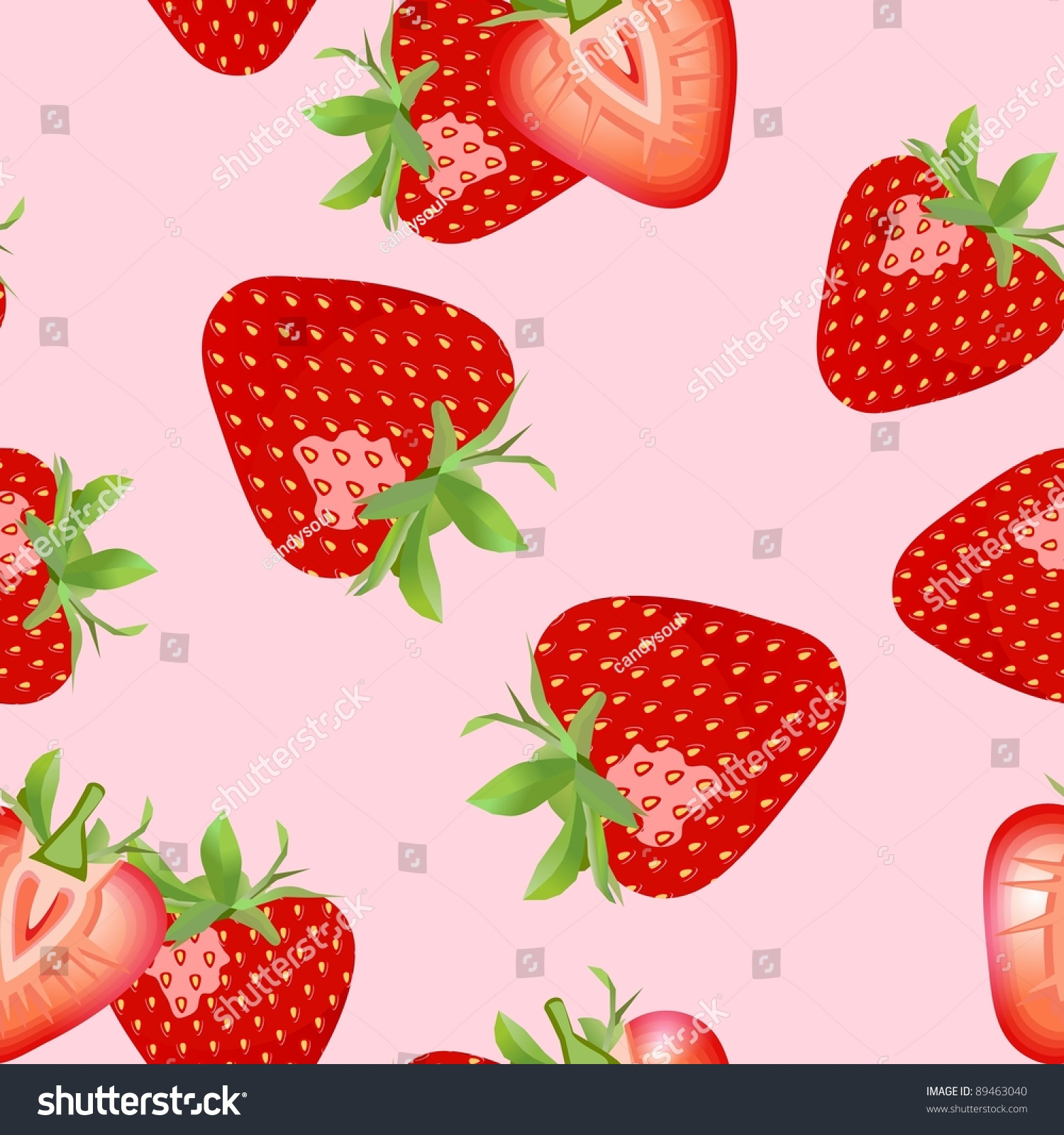 Macro Sliced Strawberries Isolated Over Pink Background Seamless Wallpaper Strawberry