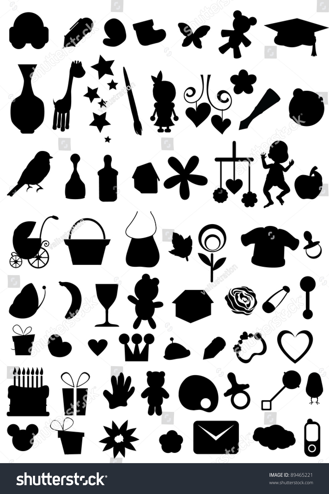 Silhouettes Object Collections Web Others Stock Vector 89465221 Shutterstock