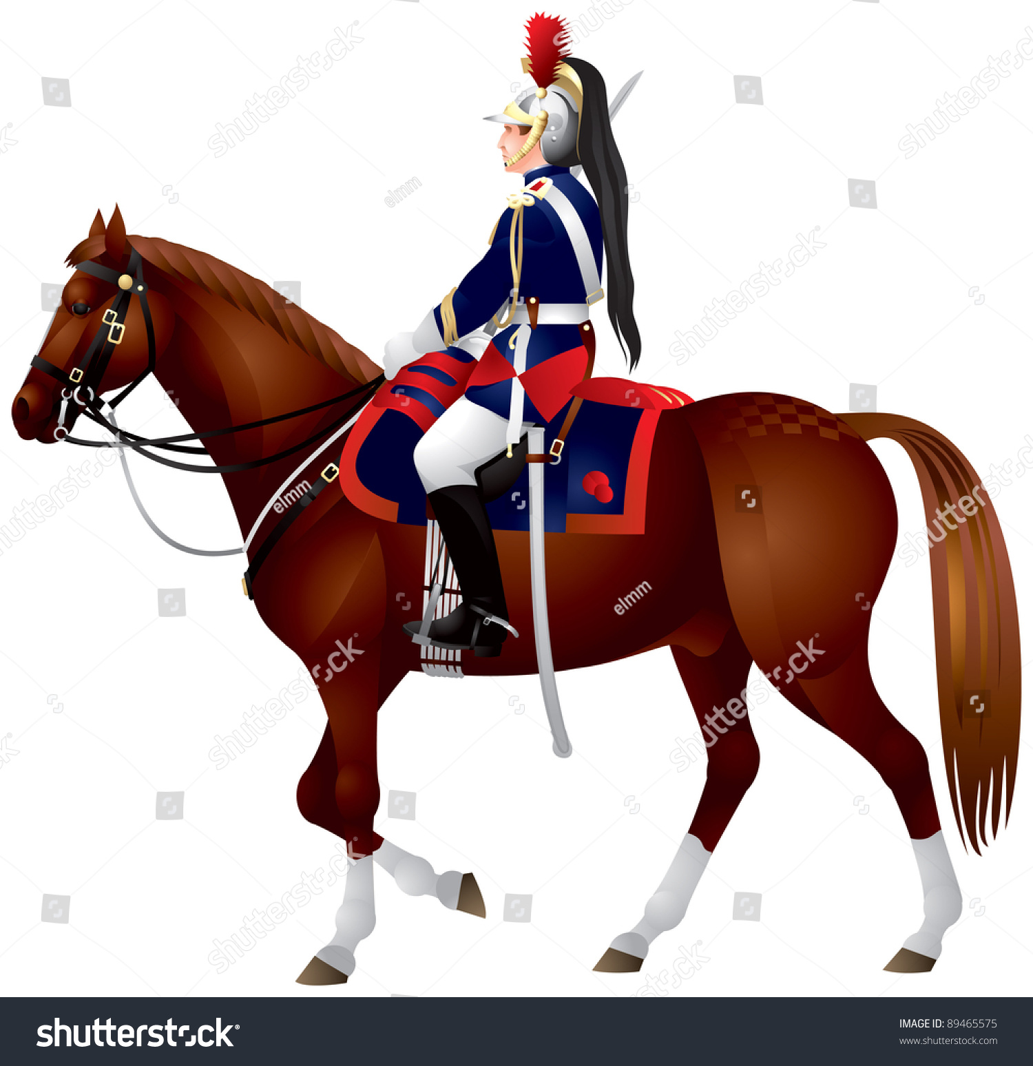 French Republican Guard Cavalier On Horse Stock Vector