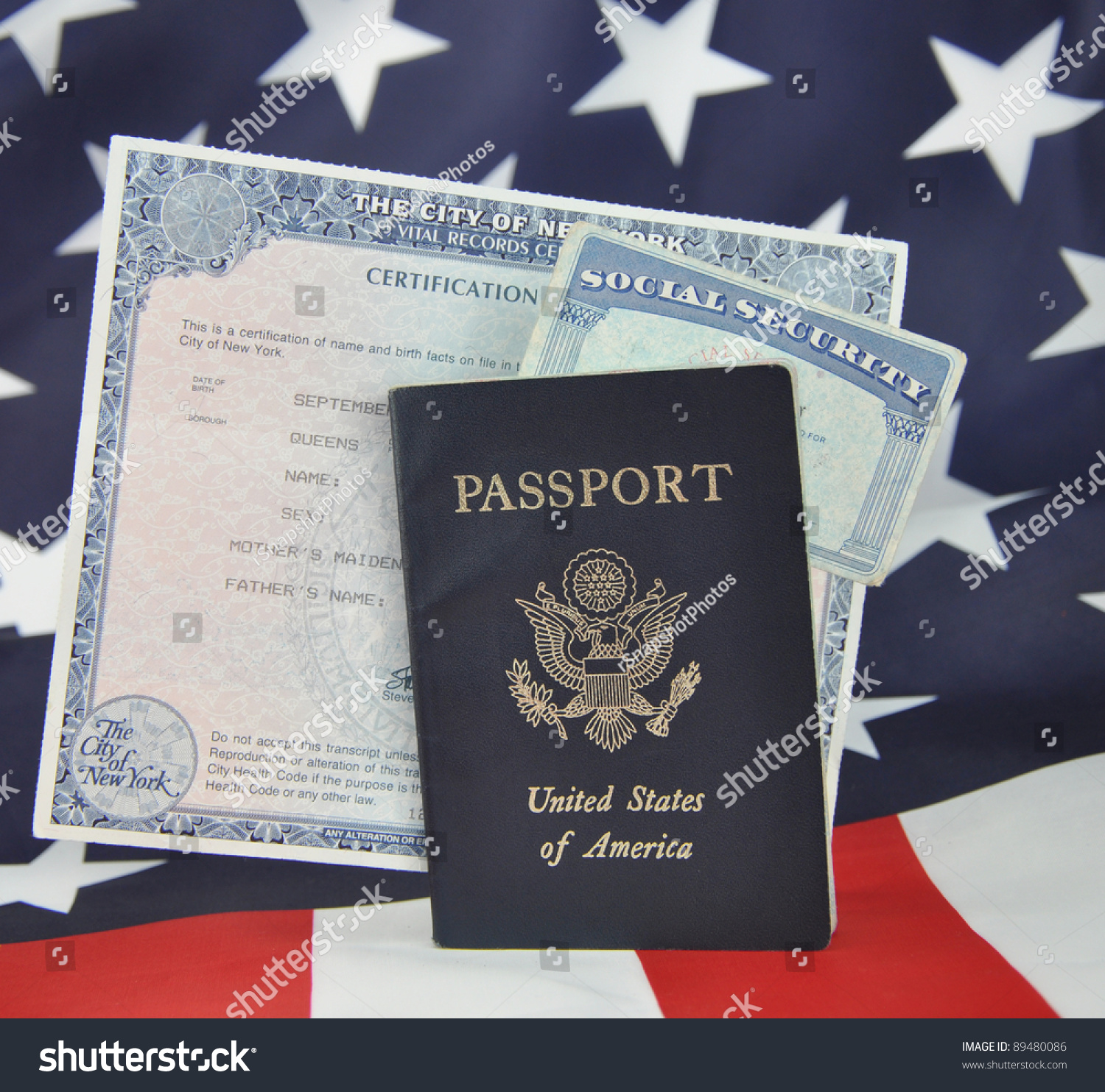 American Id Documents Passport Birth Certificate Stockfoto Jetzt