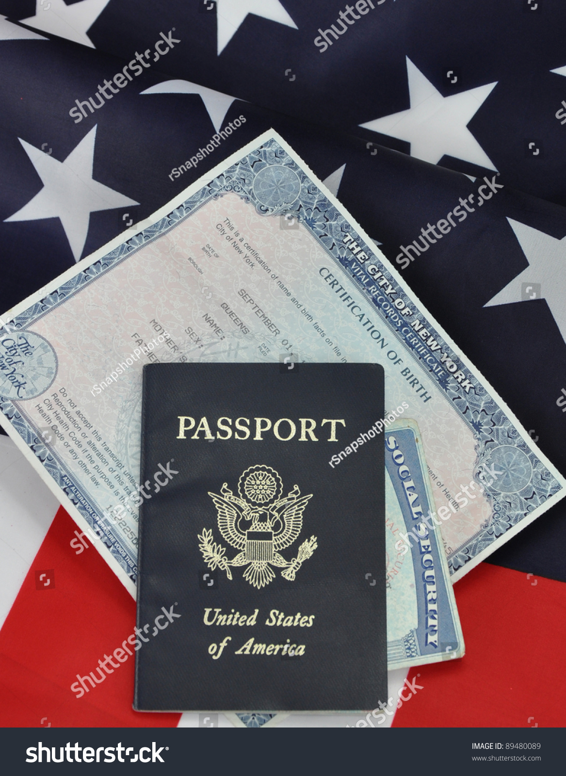 Passport Birth Certificate Social Security Card Stock Photo Edit