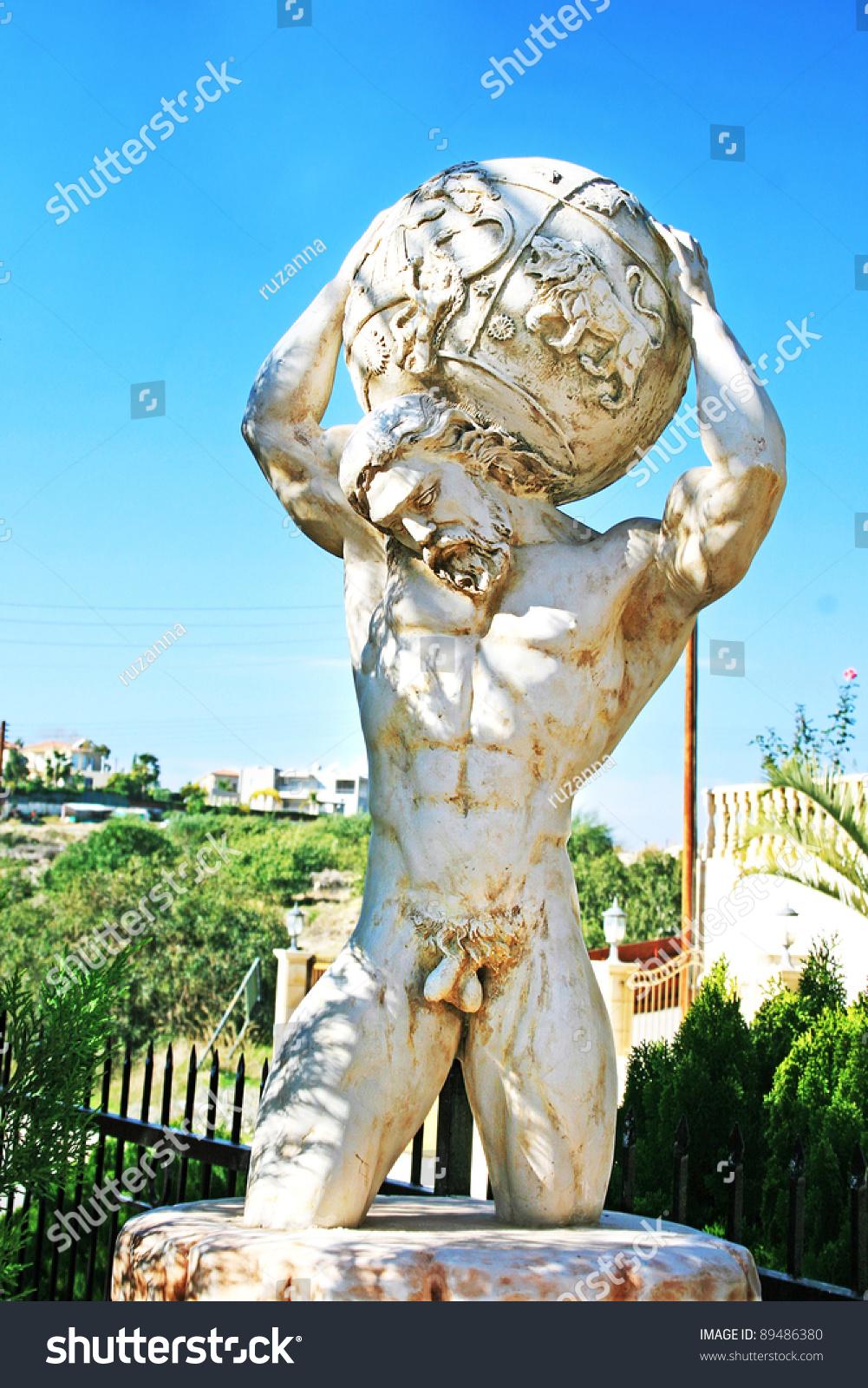 Garden Statue Atlas Holding World On Stock Photo 89486380 - Shutterstock-3525
