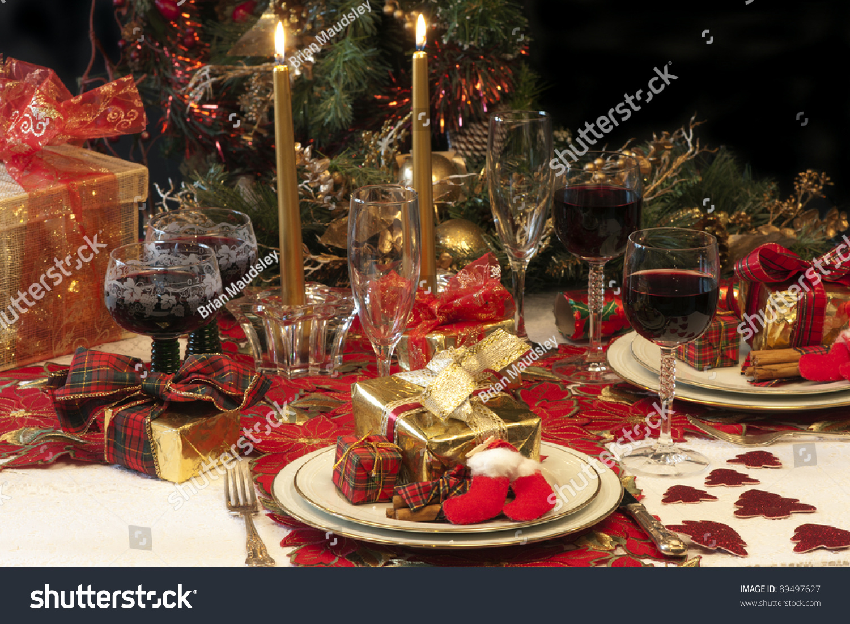 traditional christmas table setting tree presents stock