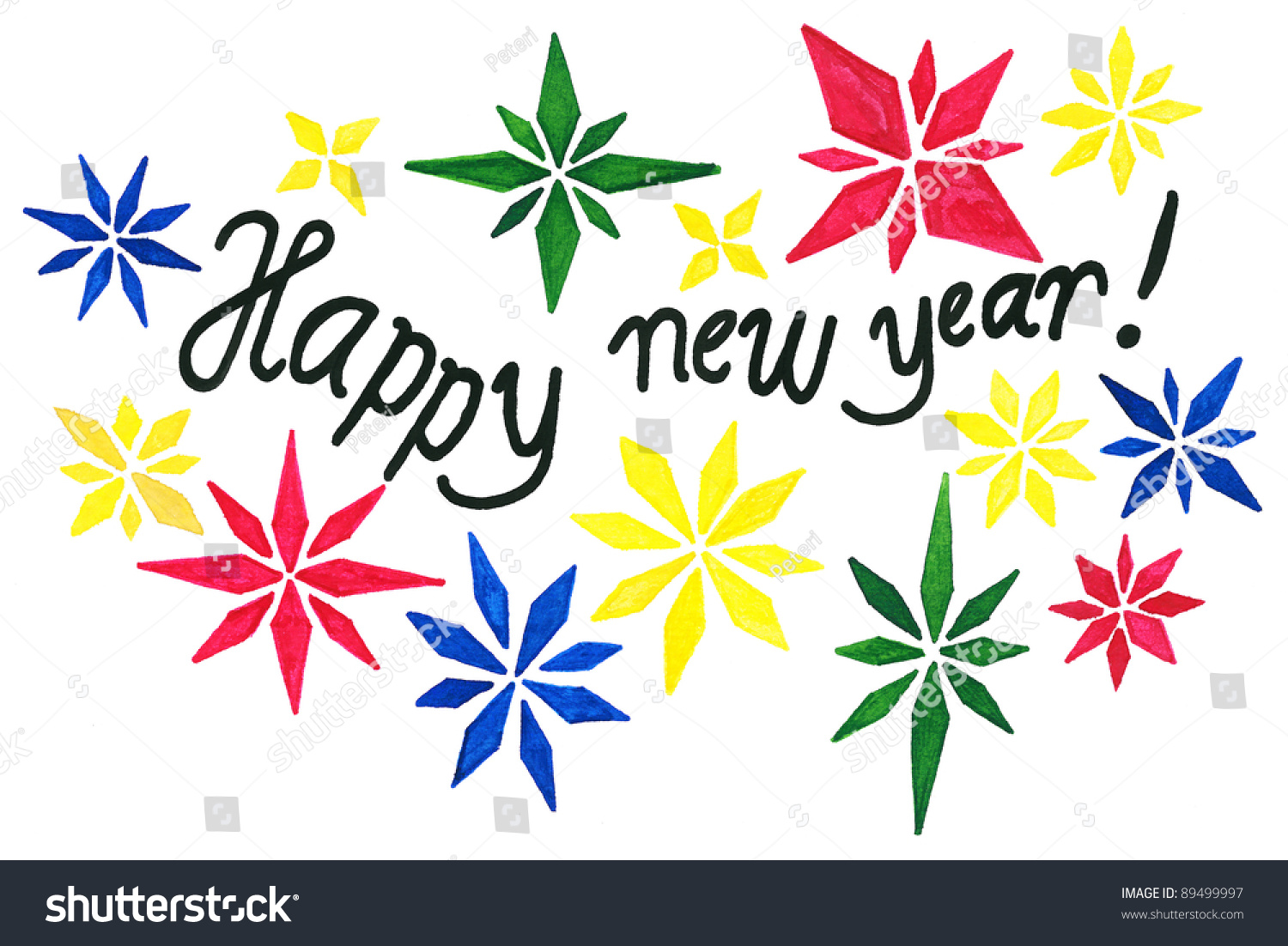 Hand Drawing Happy New Year Greeting Stock Illustration 89499997 ...