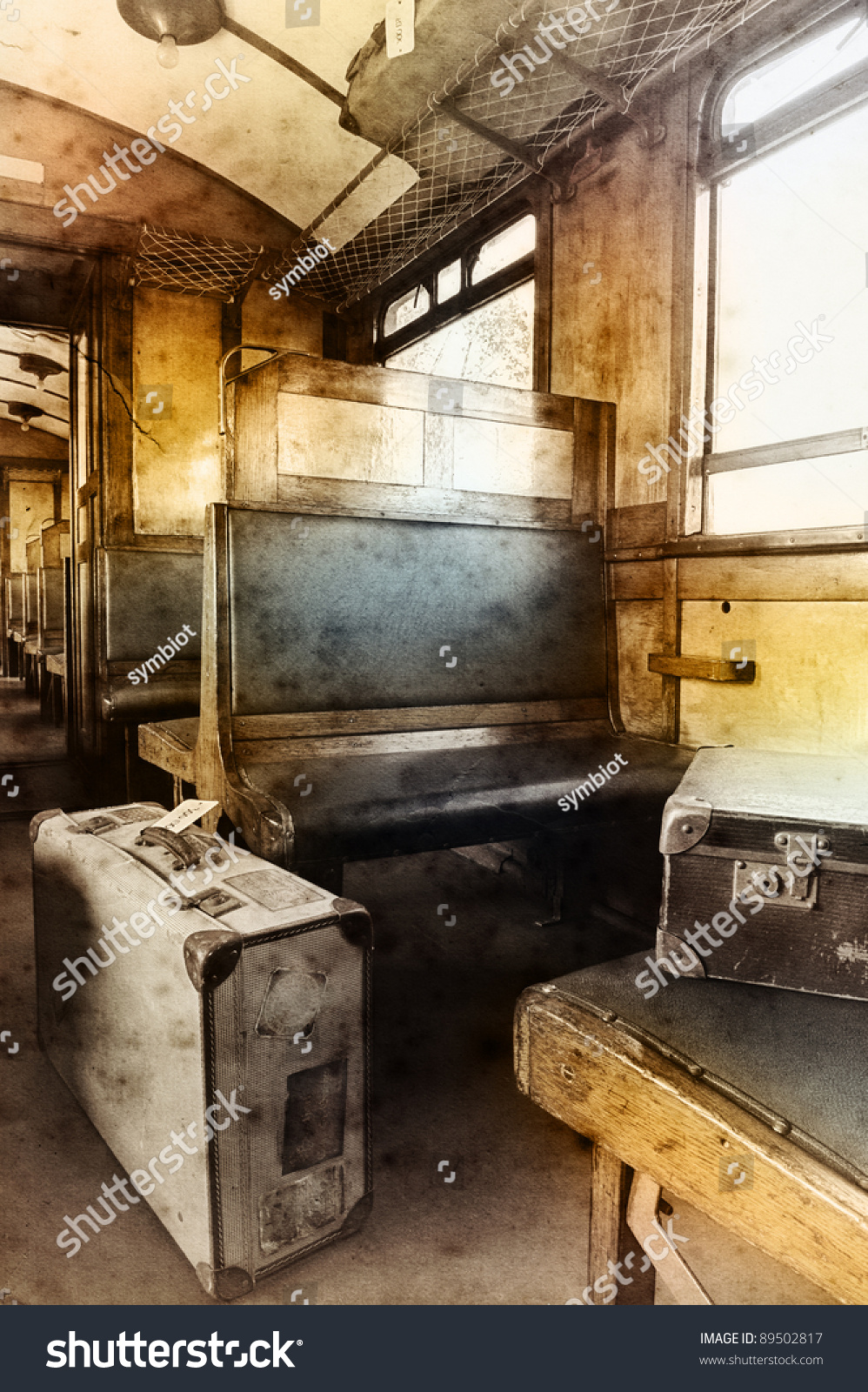 last century rail car interior passenger carriage stock photo 89502817 shutterstock. Black Bedroom Furniture Sets. Home Design Ideas