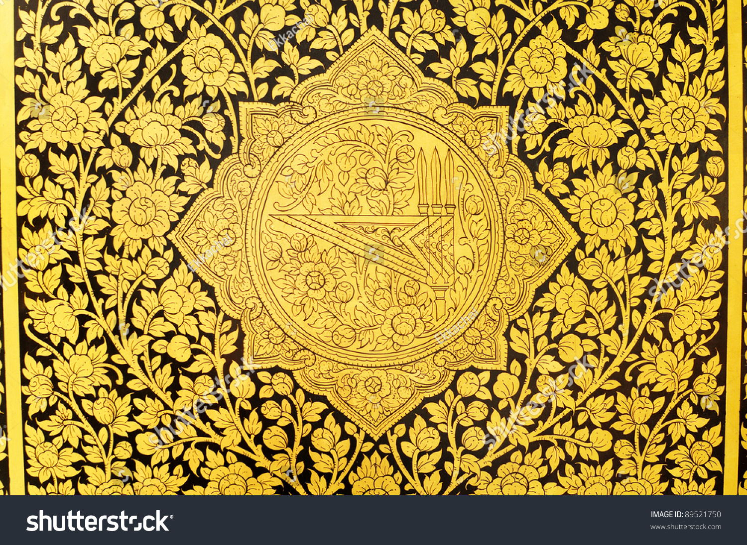Ancient Thai Patterns On Wall Thailand Stock Photo (Edit Now ...