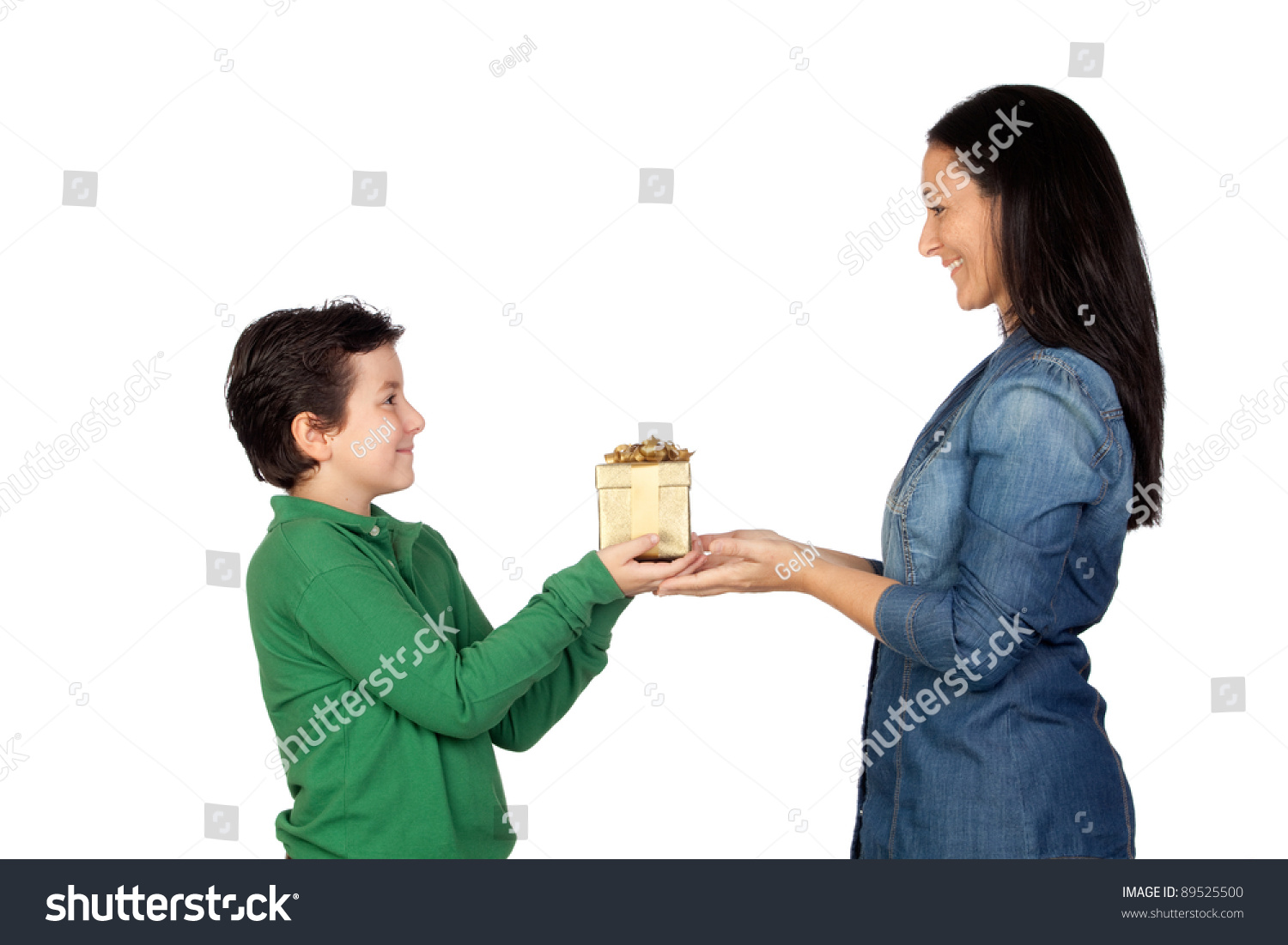 Mothers Day Child Giving Gift His Stock Photo 89525500 ...