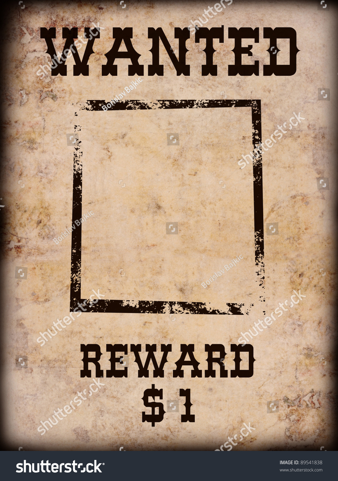 old western wanted sign isolated on stock photo 89541838