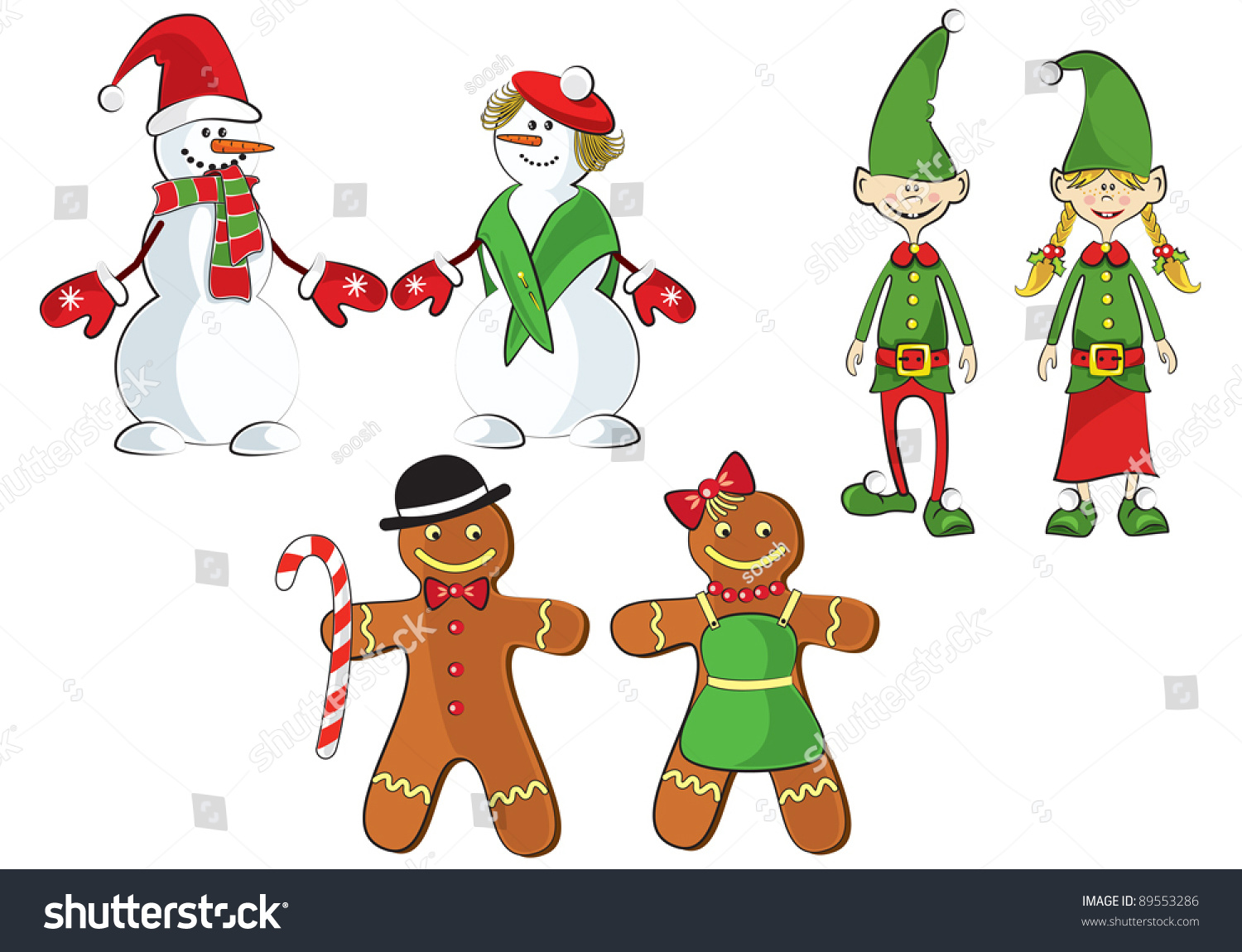 Set of Christmas elves from Santa team singing,playing music,holding ...