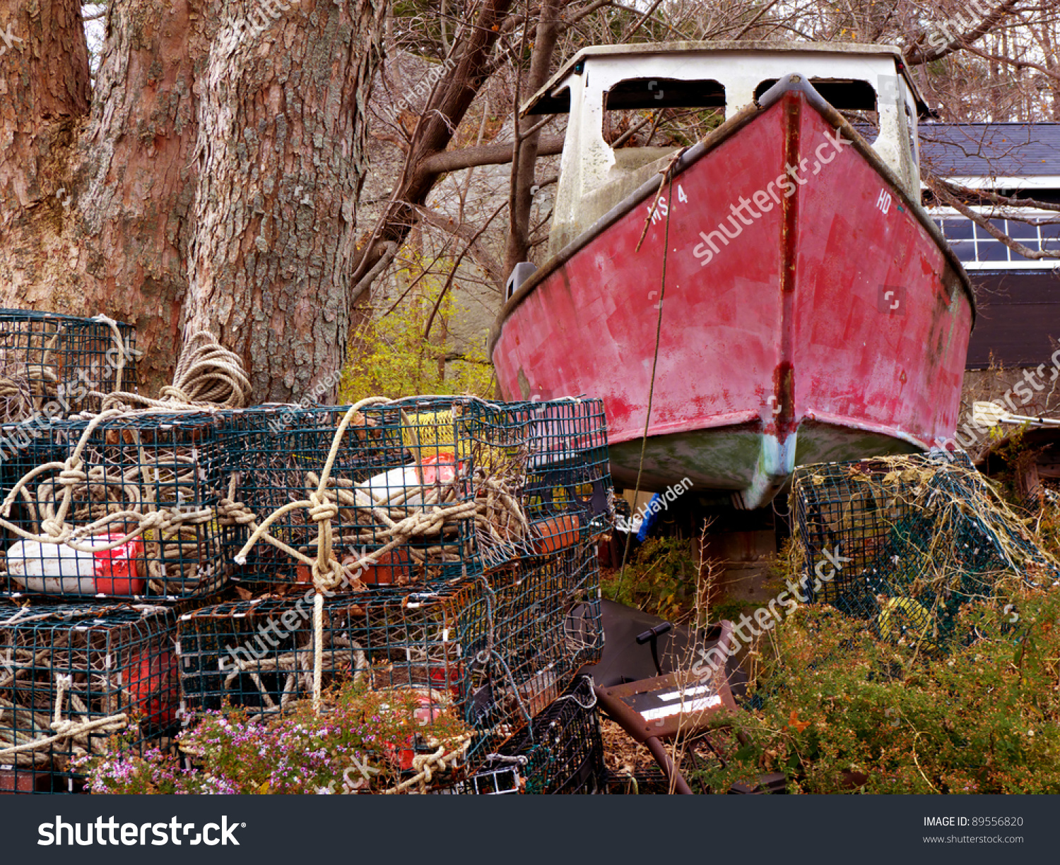 Old junk boat in yard stock photo 89556820 shutterstock for Outboard motor salvage yard