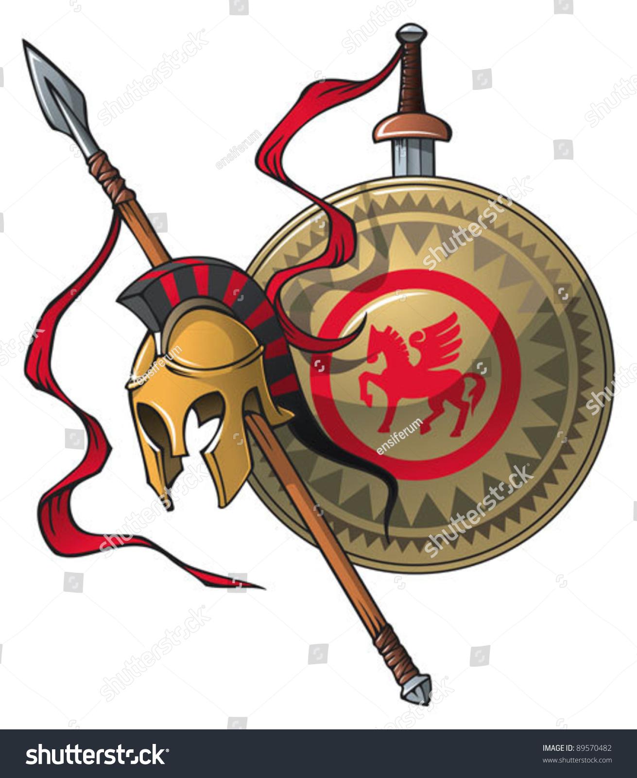 Greek Coat Arms Helmet Spear Sword Stock Vector Royalty Free