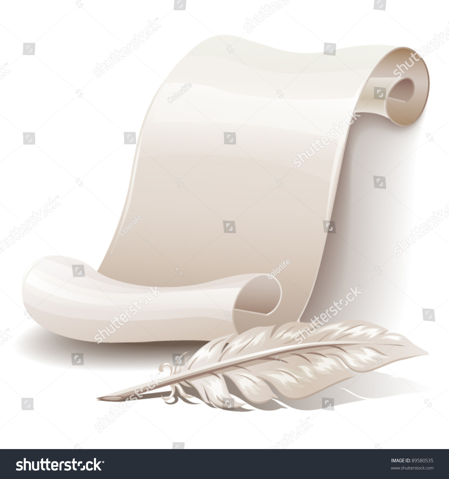 Paper Scroll Feather Stock Vector 89580535 Shutterstock