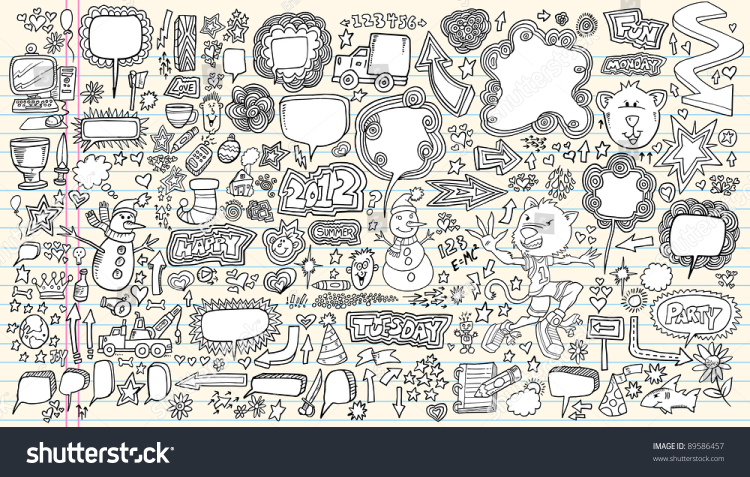 Notebook And Pen Sketch Stock Vector Art More Images Of: Notebook Doodle Speech Bubble Design Elements Stock Vector