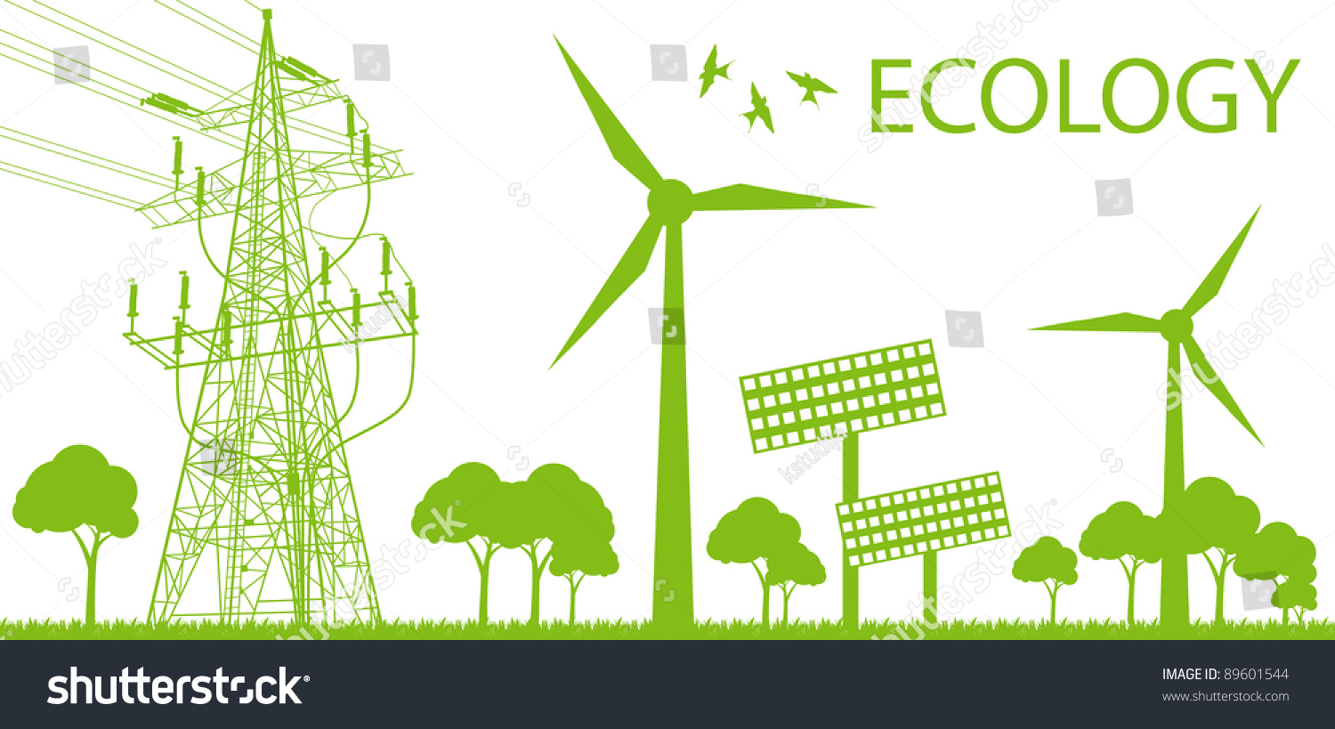 Wind alternative energy generator green vector background and high ...