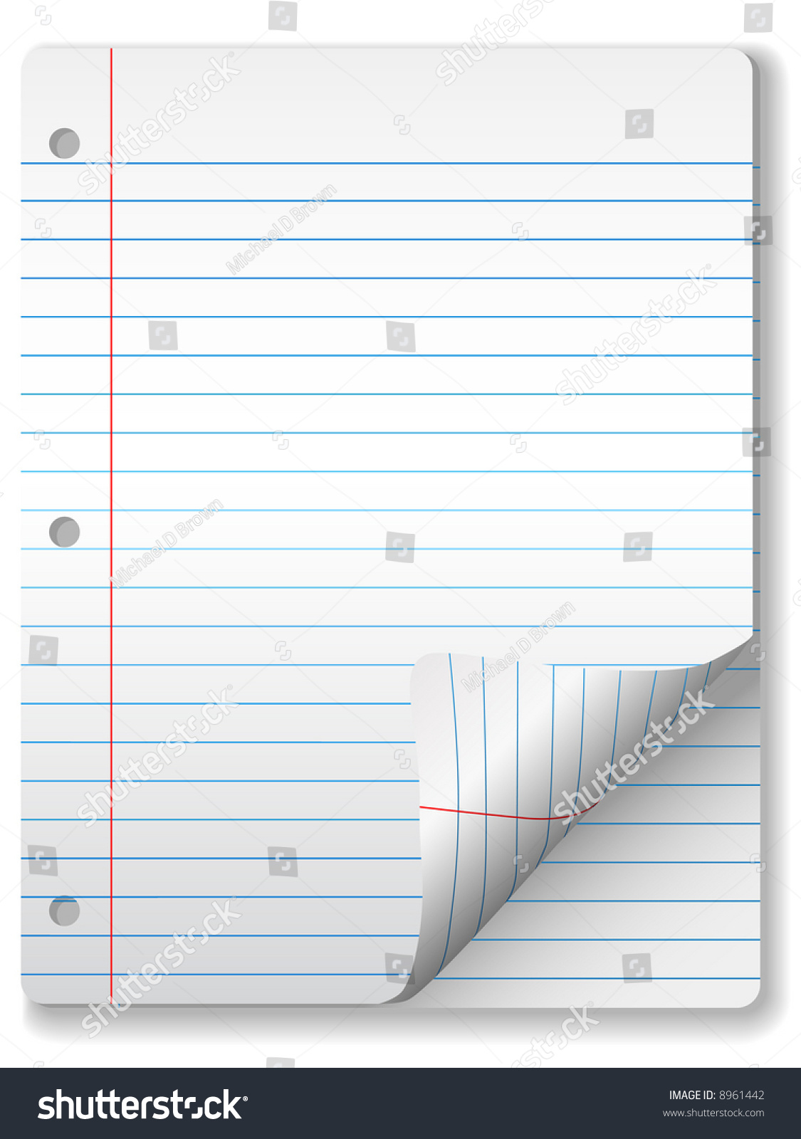 Pages Of Wide Ruled Notebook Paper Page Curl Drop Shadow – Wide Ruled Paper Printable