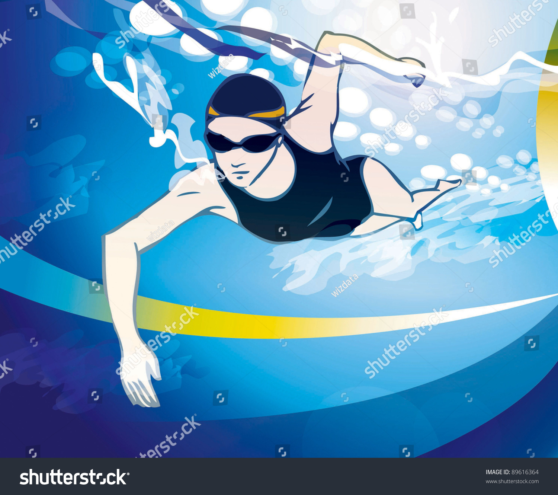 Cartoon woman swimming