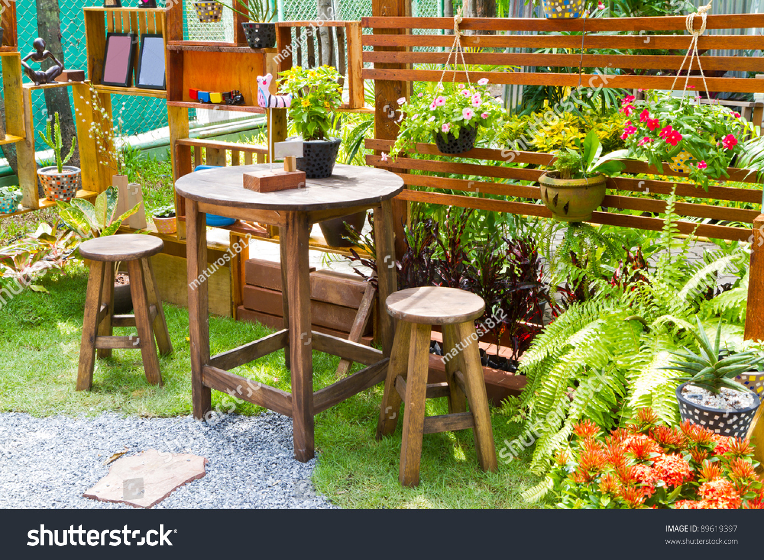 Beautiful garden flower wooden table chairs stock photo edit now beautiful garden with flower and wooden table and chairs home decoration izmirmasajfo