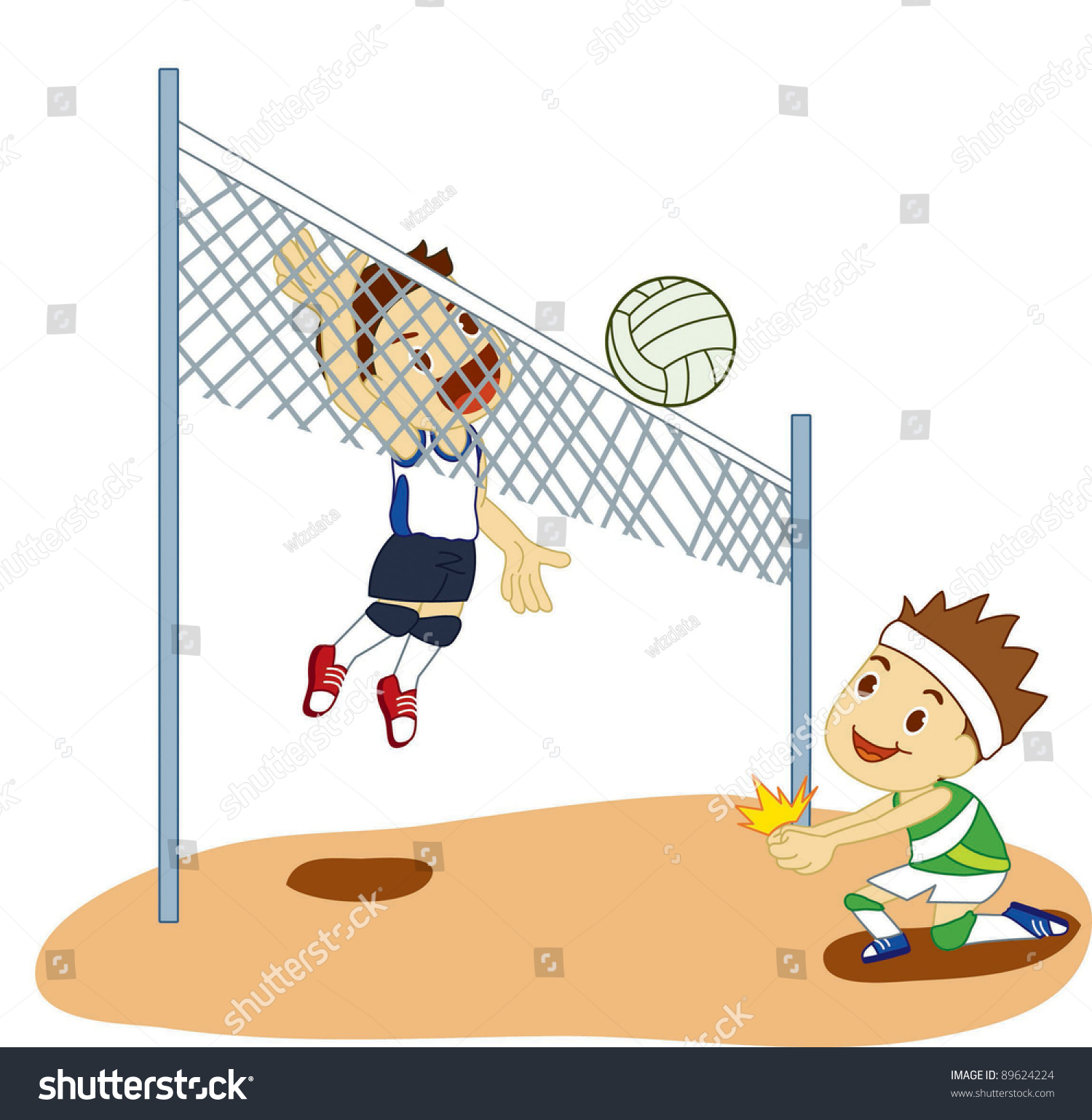 Playing volleyball clipart